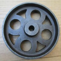 "6"" LARGE Cast iron vintage old industrial AXLE WHEEL antique rustic iron"