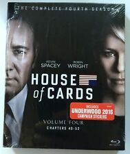 HOUSE OF CARDS COMPLETE FOURTH SEASON BLU RAY 4 DISC SET DIGIPACK + STICKERS