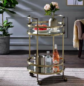Gold Drinks Trolley Bar Cart Round Glass Mirror Metal 2 Tier + Wine Rack