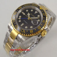 40mm bliger black dial sapphire glass golden case GMT date automatic mens watch