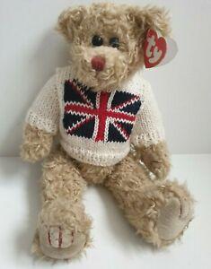 "TY Attic Treasure JACK the UK TEDDY BEAR Union Jack 13"" MWMT PLUSH Made in USA"