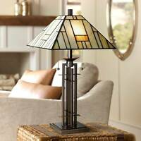 Tiffany Style Table Lamp Art Deco Bronze Stained Glass for Living Room