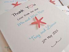 Set of 10 Personalised Handmade Starfish Beach Wedding Thank You Cards