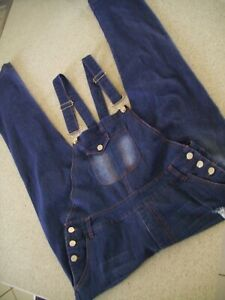 Blue Denim Distressed Ripped Overalls Size 12 Worn Twice VGC Jumpsuit Stretch