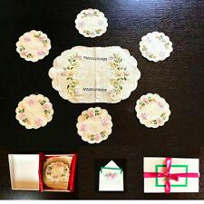 Italian Hand Sewed Table linen Centro-pieces,Big=42x27cm/Small=Dia.15cm,7pcs/set