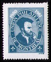 "CANADA 1980 UNION PHILATELIQE DE MONTREAL UPM ""JACQUES CARTIER"" MNH POSTER STAMP"