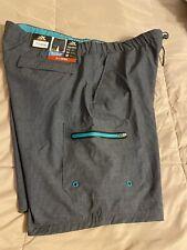 NWT $50 ZeroXposur Grey & Teal Swim Trunk Shorts Men's Size XLARGE-NEW!!!