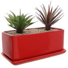 Ceramic Window Planter Pot with Saucer Succulent Plants Modern Rectangular Red