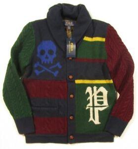 Polo Ralph Lauren Big Boys Patchwork Merino Wool Button Cardigan Sweater