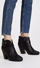 $495 RAG & BONE Harrow Leather Shoes Straps Ankle Stacked Heel Black Boots 9