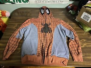 Mad Engine Marvel Spiderman Hoodie Mask Costume Zip Up Sweatshirt Men's Small