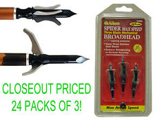 Closeout! 24 New 3-Pks Spider Max Speed Three Blade Broadhead Arrow Points,85 Gr