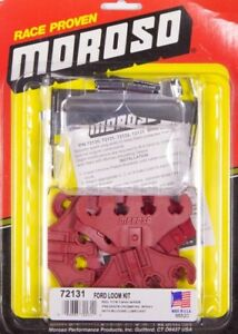 Moroso 72131 (Kit) Spark Plug Wire Loom Red / Chrome 7-9 mm for Small Block Ford