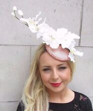 Rose Gold Cream White Sequin Orchid Flower Fascinator Hat Hair Clip Races 3313