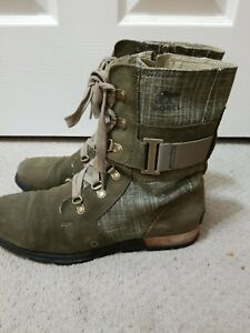 Sorel Green suede Leather Major Carly Combat Boots Size 10.5