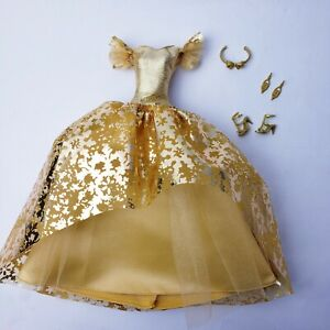 Barbie Model Muse Collector 2020 Holiday Gold Dress Ball Gown & Shoes Mattel