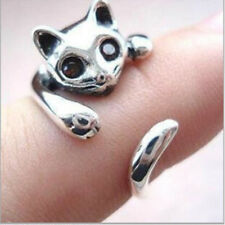 Womens Girls Vintage Style Lovely Cat Kitten Animal Adjustable Wrap Kitten Ring