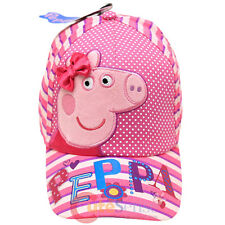 Peppa Pig Baseball Hat Adjustable Girls Cap Pink Stripe Dots