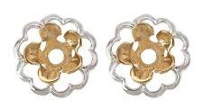Earring Jacket Flower TwoTone Silver Flower Gold center Earring Jacket Silver