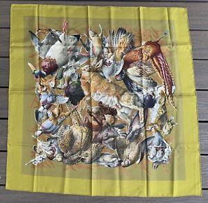 "Vtg HERMES PARIS Silk SCARF Gibiers HENRI DE LINARES 35"" Rabbit Birds"