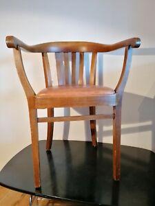 Armlehnstuhl Stuhl Schreibtischstuhl Büro Art Deco Bauhaus Gropius Ledersitz