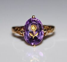 Antique Victorian 14k Gold Amethyst Rose of Sharon Ring, Size 6.5