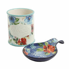 The Pioneer Woman Floral 2 Piece Mini Utensil Crock and Spoon Rest