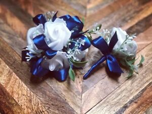 White Navy Blue Corsage and boutonniere set Prom Wedding Formal Artificial