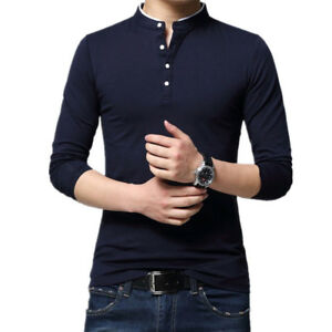 Tshirt Men Solid Color Slim Fit Long Sleeve T Shirt Men Casual T-Shirts