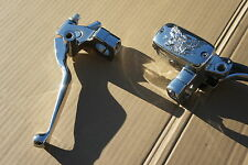 """Skull Chrome BRAKE MASTER CYLINDER and Clutch Perch Lever Set fit 1"""" handle bar"""
