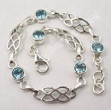 ".925 Sterling Silver CUT BLUE TOPAZ INEXPENSIVE Cast Bracelet 7.7"" NEW"