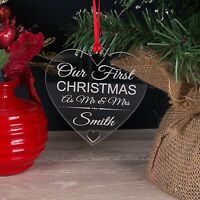 Personalised Acrylic Our First Xmas As Mr & Mrs Christmas Tree Decoration Bauble