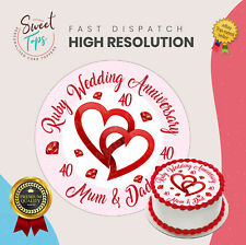 RUBY WEDDING ANNIVERSARY EDIBLE ROUND CAKE TOPPER DECORATION PERSONALISED