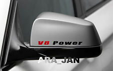 2 - V8 POWER Racing Sport Vinyl Decal sticker logo mirror BLACK/RED