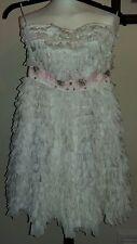MANOUSH ROBE CENDRILLON Strapless White Dress Beaded Size uk10 fr38 RRP £350