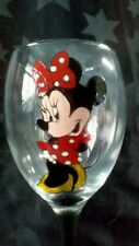 Hand Painted Cute Minnie Mouse Large Washable Wine Glass Black Stem