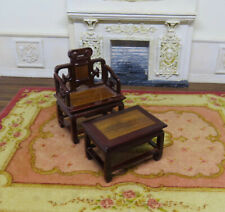 Dollhouse Miniature 1:12  Wooden Chinese CHAIR and OTTOMAN