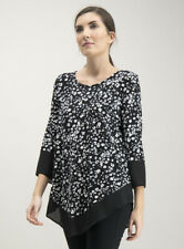 BRAND NEW TU Animal Print Top, Size 12 UK, 3/4 Sleeves, Mono Casual, Blouse, Cat