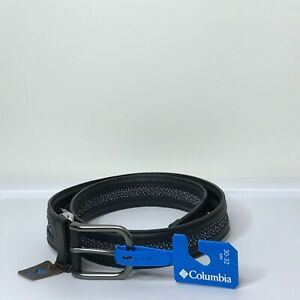 Columbia Synthetic Leather Belt Vegan Faux Leather Black 30-32 Small