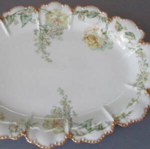 "Antique HAVILAND Porcelain 15"" Platter Yellow DROP ROSE + Lilacs Scalloped GILT"