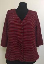 First Issue Liz Claiborne Sport Cardigan-Black Red Stripe-Cotton Spandex Blend-L