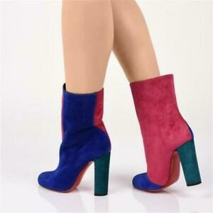 Christian Louboutin Boots Botty Double Colorblock Suede Red Ankle Booties 39.5