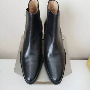 Ralph Lauren Women's Ankle Boots, Size 7 1/2B Black Leather Uppers Made in Spain