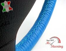 FOR OPEL FRONTERA B 98-04 - BLUE LEATHER STEERING WHEEL COVER, LIGHT BLUE 2 STIT