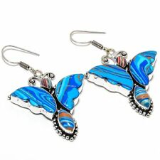 "Butterfly Rainbow Calsilica Handmade Ethnic Style Jewelry Earring 2.56"" E-766"