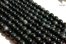 Genuine Natural Rainbow Obsidian Smooth Round Sphere Gemstone Stone Loose Beads