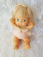 """5"""" Silicone? Blonde Curly Hair Baby Doll Blue Eyes Made In China 1990s? Cute"""