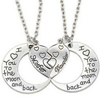 THE MOON AND BACK Mother Daughter Love Heart Pendant Necklace Family Jewelry Fyu