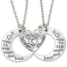 The Moon and Back Mother Daughter Love Heart Pendant Necklace Family Jewelry 0g