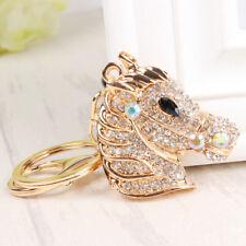 Gold Horse Head Cute Pendant Crystal Charm Purse Bag Key Ring Chain Accessories